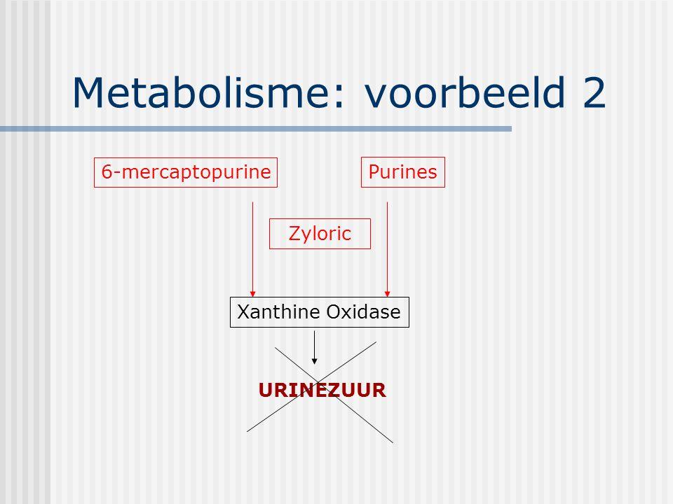 Metabolisme: voorbeeld 2 6-mercaptopurine Xanthine Oxidase Purines URINEZUUR Zyloric