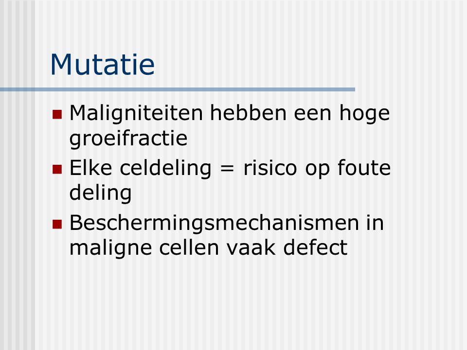 Mutatie Maligniteiten hebben een hoge groeifractie Elke celdeling = risico op foute deling Beschermingsmechanismen in maligne cellen vaak defect