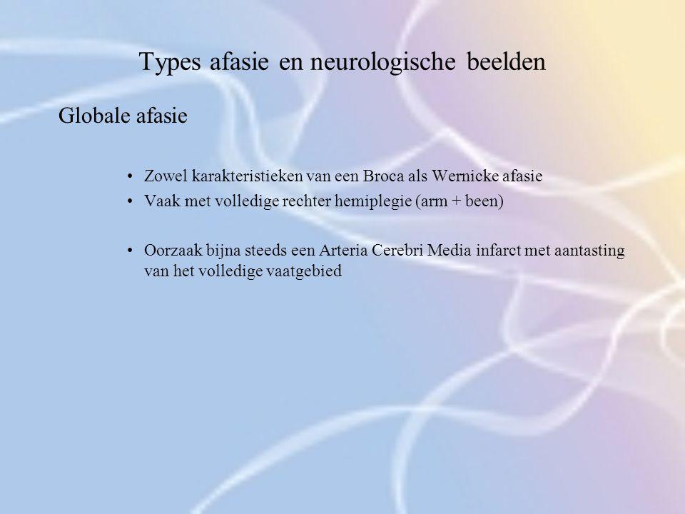 Types afasie en neurologische beelden Globale afasie Zowel karakteristieken van een Broca als Wernicke afasie Vaak met volledige rechter hemiplegie (a