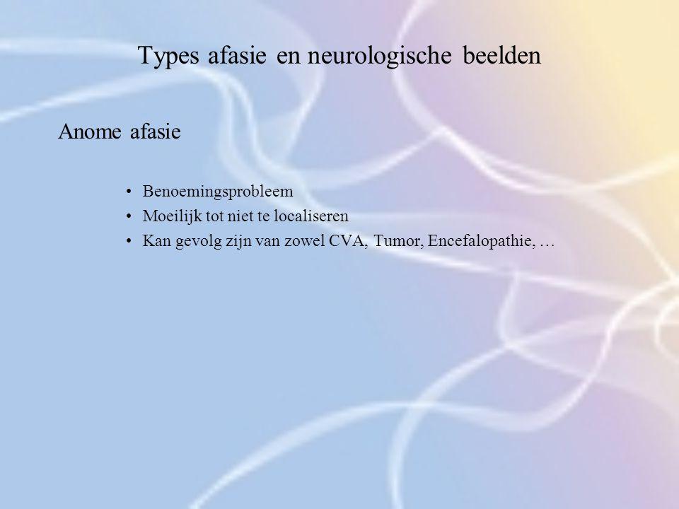 Types afasie en neurologische beelden Anome afasie Benoemingsprobleem Moeilijk tot niet te localiseren Kan gevolg zijn van zowel CVA, Tumor, Encefalop