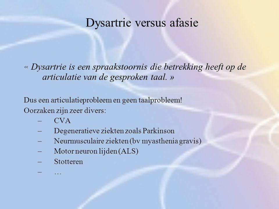 Dysartrie versus afasie « Dysartrie is een spraakstoornis die betrekking heeft op de articulatie van de gesproken taal. » Dus een articulatieprobleem