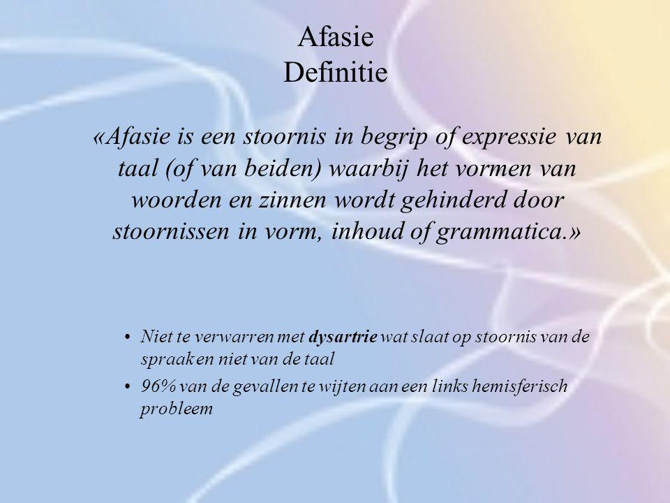 Afasie Definitie «Afasie is een stoornis in begrip of expressie van taal (of van beiden) waarbij het vormen van woorden en zinnen wordt gehinderd door