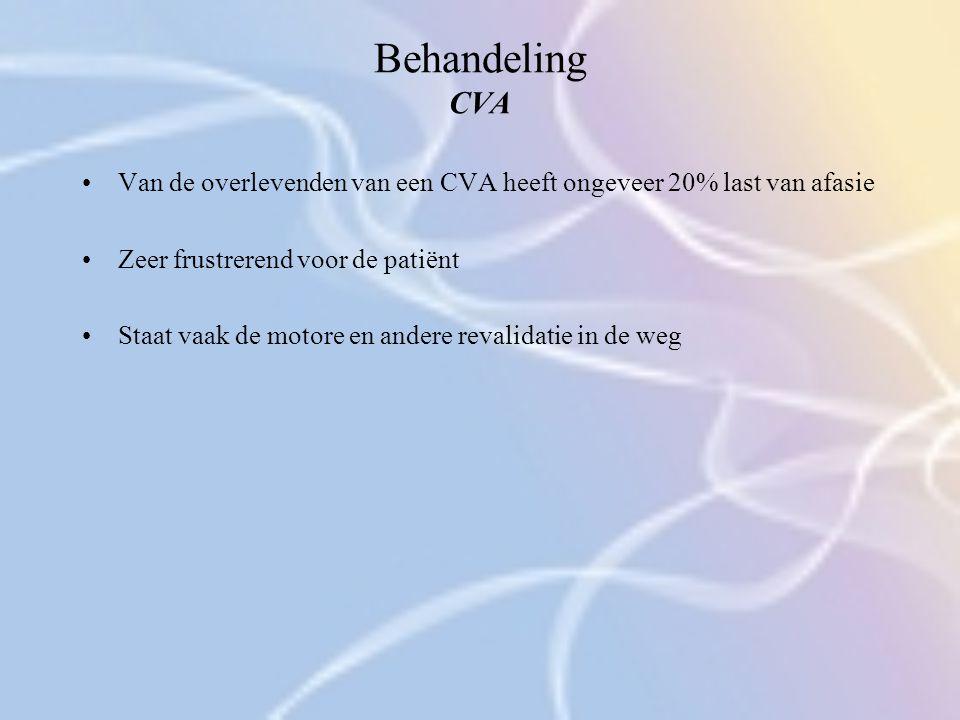 Behandeling CVA Van de overlevenden van een CVA heeft ongeveer 20% last van afasie Zeer frustrerend voor de patiënt Staat vaak de motore en andere rev