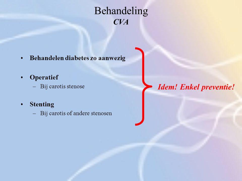 Behandeling CVA Behandelen diabetes zo aanwezig Operatief –Bij carotis stenose Stenting –Bij carotis of andere stenosen Idem! Enkel preventie!