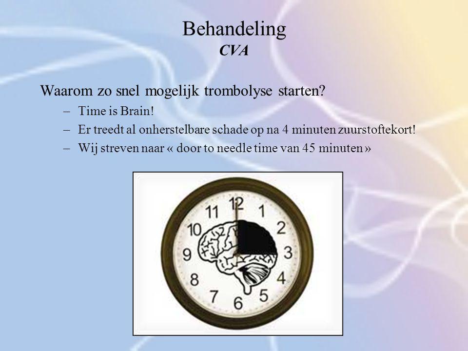Behandeling CVA Waarom zo snel mogelijk trombolyse starten? –Time is Brain! –Er treedt al onherstelbare schade op na 4 minuten zuurstoftekort! –Wij st