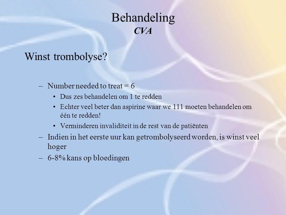Behandeling CVA Winst trombolyse? –Number needed to treat = 6 Dus zes behandelen om 1 te redden Echter veel beter dan aspirine waar we 111 moeten beha