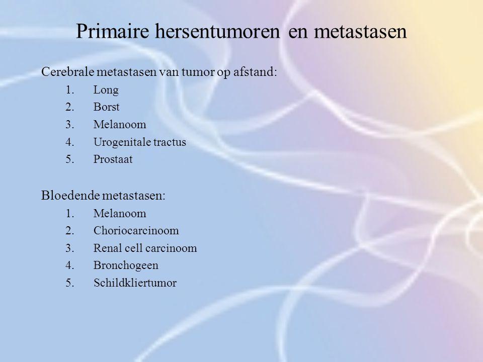 Primaire hersentumoren en metastasen Cerebrale metastasen van tumor op afstand: 1.Long 2.Borst 3.Melanoom 4.Urogenitale tractus 5.Prostaat Bloedende m