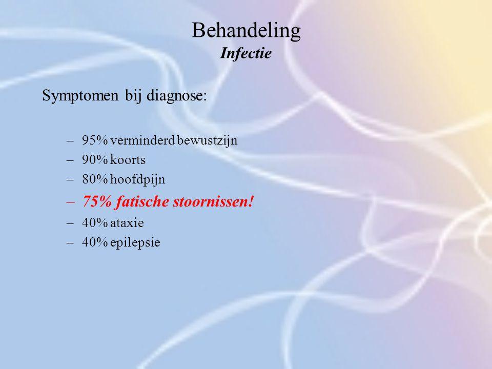 Behandeling Infectie Symptomen bij diagnose: –95% verminderd bewustzijn –90% koorts –80% hoofdpijn –75% fatische stoornissen! –40% ataxie –40% epileps