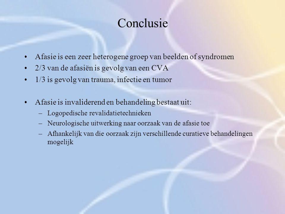 Conclusie Afasie is een zeer heterogene groep van beelden of syndromen 2/3 van de afasiën is gevolg van een CVA 1/3 is gevolg van trauma, infectie en