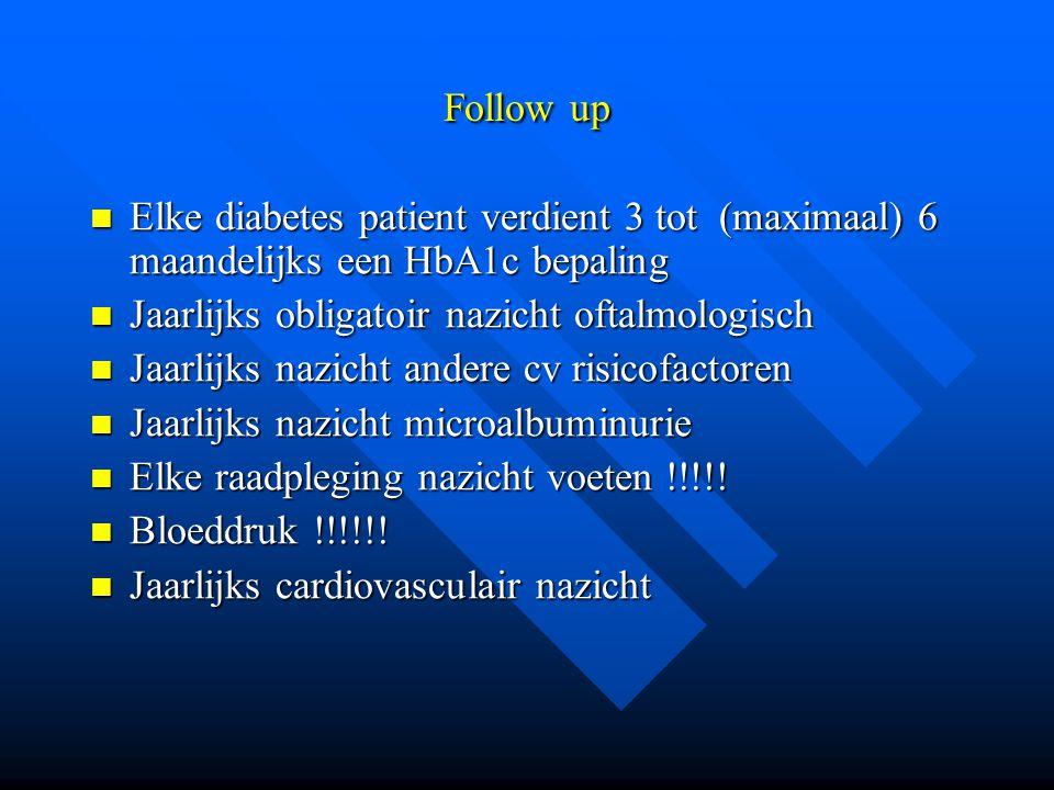 Follow up Elke diabetes patient verdient 3 tot (maximaal) 6 maandelijks een HbA1c bepaling Elke diabetes patient verdient 3 tot (maximaal) 6 maandelijks een HbA1c bepaling Jaarlijks obligatoir nazicht oftalmologisch Jaarlijks obligatoir nazicht oftalmologisch Jaarlijks nazicht andere cv risicofactoren Jaarlijks nazicht andere cv risicofactoren Jaarlijks nazicht microalbuminurie Jaarlijks nazicht microalbuminurie Elke raadpleging nazicht voeten !!!!.
