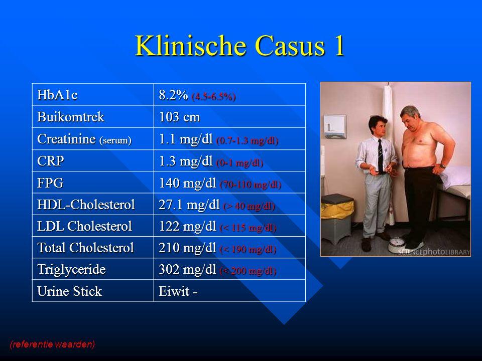 Klinische Casus 1 HbA1c 8.2% (4.5-6.5%) Buikomtrek 103 cm Creatinine (serum) 1.1 mg/dl (0.7-1.3 mg/dl) CRP 1.3 mg/dl (0-1 mg/dl) FPG 140 mg/dl (70-110