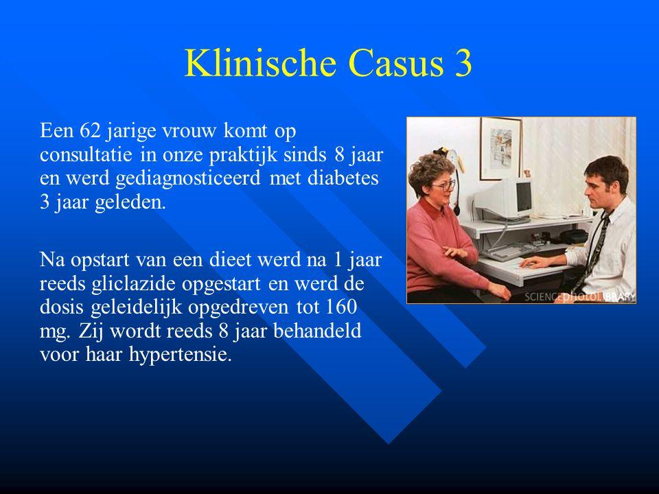 Klinische Casus 3 Een 62 jarige vrouw komt op consultatie in onze praktijk sinds 8 jaar en werd gediagnosticeerd met diabetes 3 jaar geleden. Na opsta