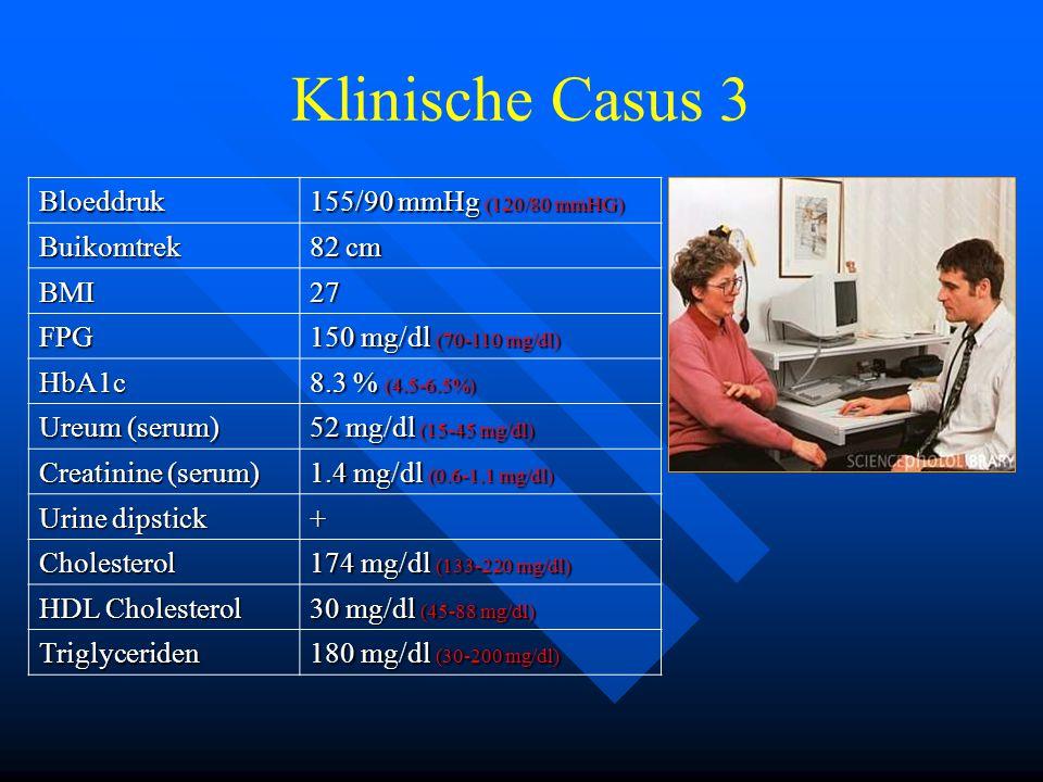 Klinische Casus 3 Bloeddruk 155/90 mmHg (120/80 mmHG) Buikomtrek 82 cm BMI27 FPG 150 mg/dl (70-110 mg/dl) HbA1c 8.3 % (4.5-6.5%) Ureum (serum) 52 mg/dl (15-45 mg/dl) Creatinine (serum) 1.4 mg/dl (0.6-1.1 mg/dl) Urine dipstick + Cholesterol 174 mg/dl (133-220 mg/dl) HDL Cholesterol 30 mg/dl (45-88 mg/dl) Triglyceriden 180 mg/dl (30-200 mg/dl)
