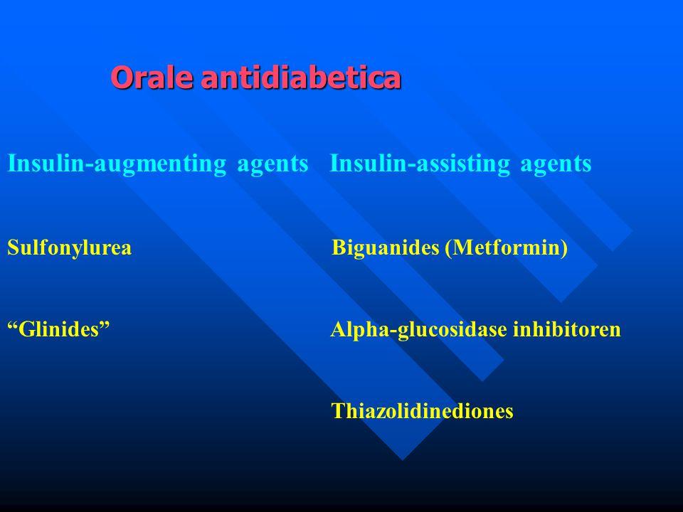 "Insulin-augmenting agents Insulin-assisting agents Sulfonylurea Biguanides (Metformin) ""Glinides"" Alpha-glucosidase inhibitoren Thiazolidinediones Ora"