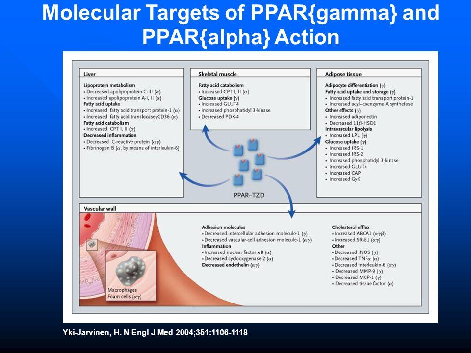 Yki-Jarvinen, H. N Engl J Med 2004;351:1106-1118 Molecular Targets of PPAR{gamma} and PPAR{alpha} Action