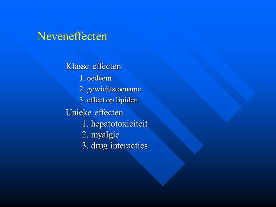 Neveneffecten Klasse effecten 1. oedeem 2. gewichtstoename 3. effect op lipiden Unieke effecten 1. hepatotoxiciteit 2. myalgie 3. drug interacties