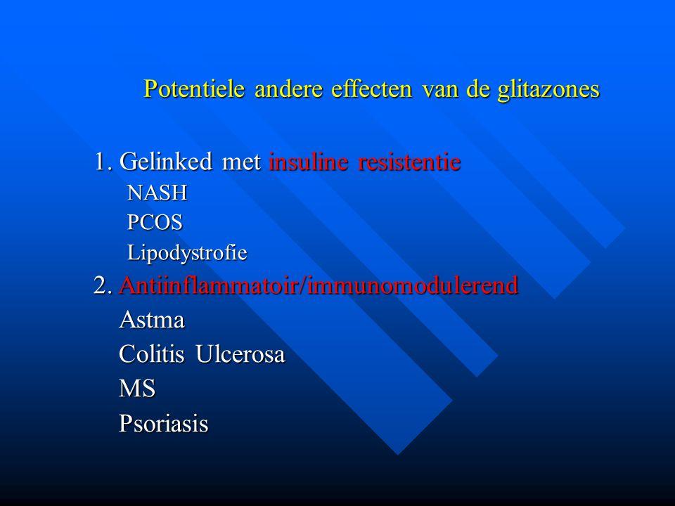 Potentiele andere effecten van de glitazones 1. Gelinked met insuline resistentie NASHPCOSLipodystrofie 2. Antiinflammatoir/immunomodulerend Astma Col