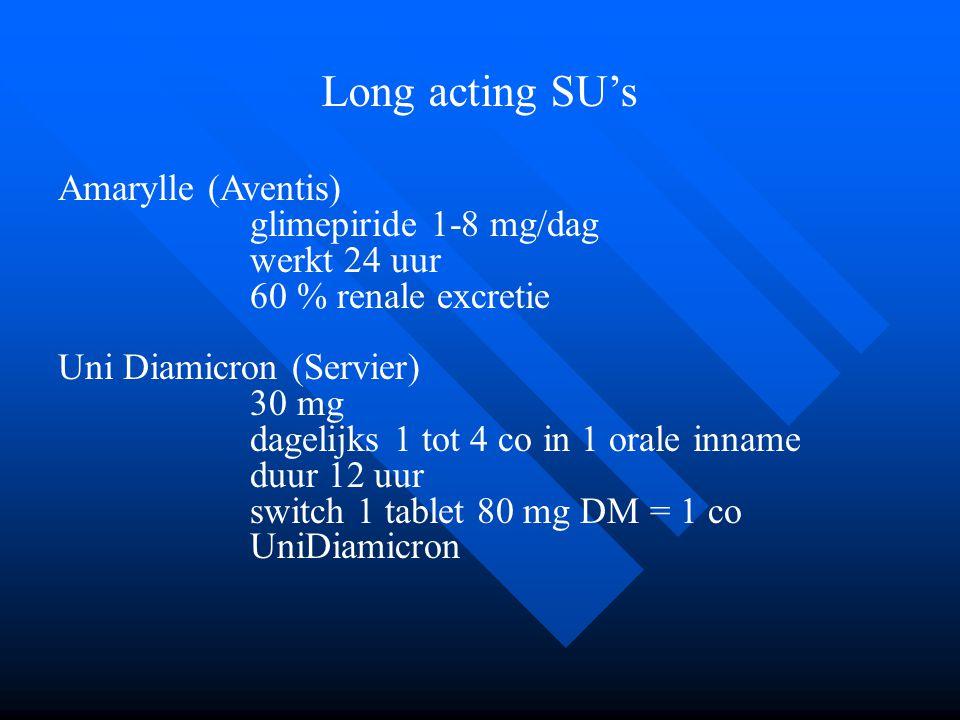 Long acting SU's Amarylle (Aventis) glimepiride 1-8 mg/dag werkt 24 uur 60 % renale excretie Uni Diamicron (Servier) 30 mg dagelijks 1 tot 4 co in 1 o
