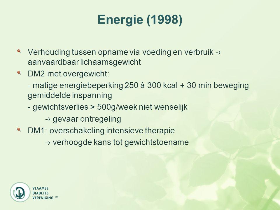 Energie (1998) Verhouding tussen opname via voeding en verbruik -› aanvaardbaar lichaamsgewicht DM2 met overgewicht: - matige energiebeperking 250 à 3