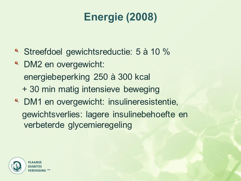 Energie (2008) Streefdoel gewichtsreductie: 5 à 10 % DM2 en overgewicht: energiebeperking 250 à 300 kcal + 30 min matig intensieve beweging DM1 en ove
