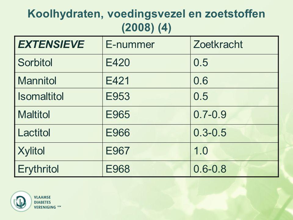 Koolhydraten, voedingsvezel en zoetstoffen (2008) (4) EXTENSIEVEE-nummerZoetkracht SorbitolE4200.5 MannitolE4210.6 IsomaltitolE9530.5 MaltitolE9650.7-