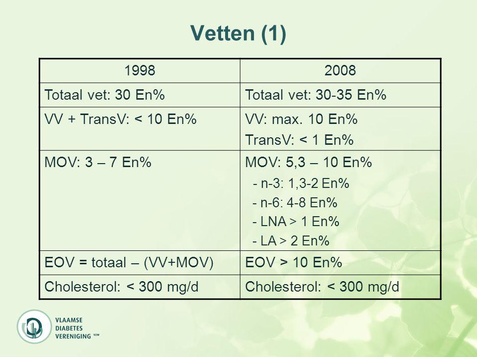 Vetten (1) 19982008 Totaal vet: 30 En%Totaal vet: 30-35 En% VV + TransV: < 10 En%VV: max. 10 En% TransV: < 1 En% MOV: 3 – 7 En%MOV: 5,3 – 10 En% - n-3