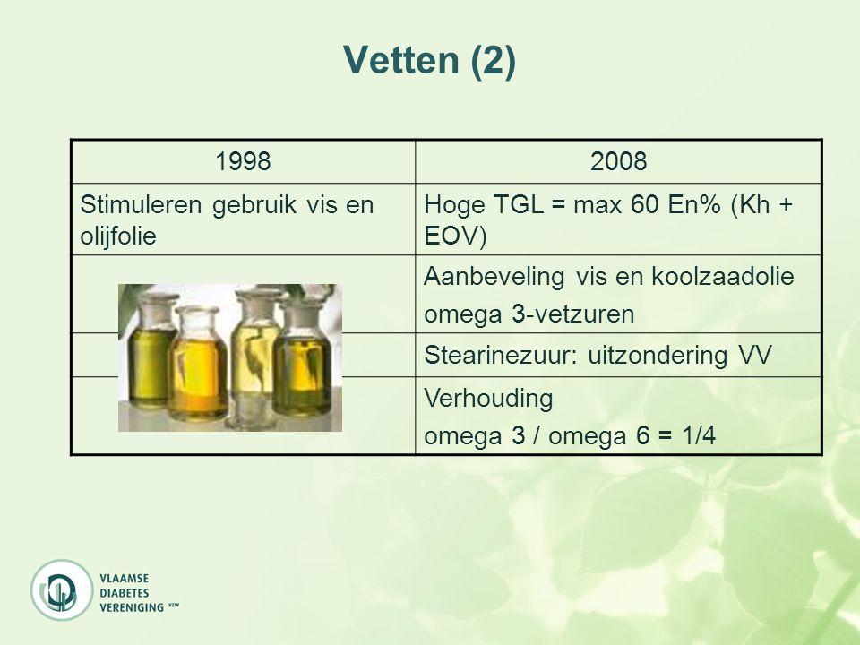 Vetten (2) 19982008 Stimuleren gebruik vis en olijfolie Hoge TGL = max 60 En% (Kh + EOV) Aanbeveling vis en koolzaadolie omega 3-vetzuren Stearinezuur