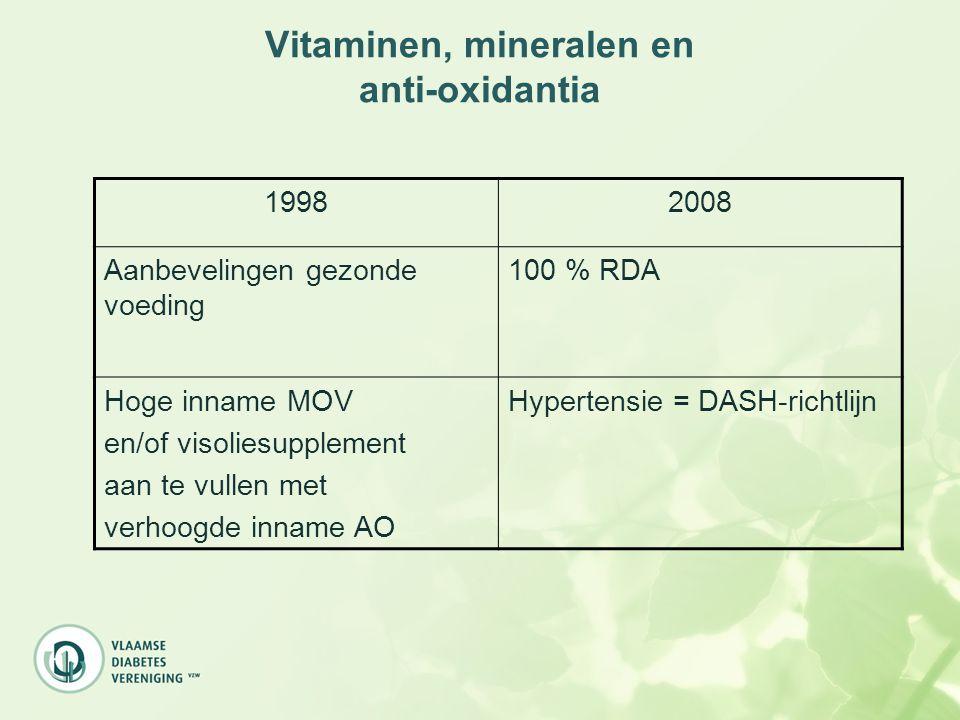 Vitaminen, mineralen en anti-oxidantia 19982008 Aanbevelingen gezonde voeding 100 % RDA Hoge inname MOV en/of visoliesupplement aan te vullen met verh