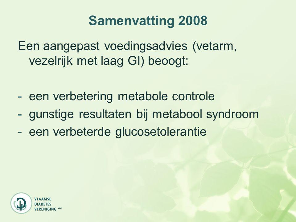 Samenvatting 2008 Een aangepast voedingsadvies (vetarm, vezelrijk met laag GI) beoogt: -een verbetering metabole controle -gunstige resultaten bij met