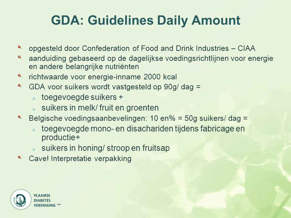 GDA: Guidelines Daily Amount opgesteld door Confederation of Food and Drink Industries – CIAA aanduiding gebaseerd op de dagelijkse voedingsrichtlijne