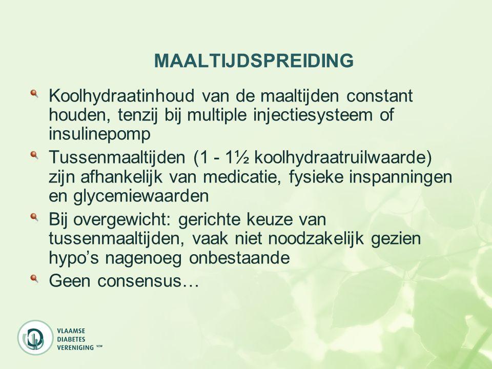 MAALTIJDSPREIDING Koolhydraatinhoud van de maaltijden constant houden, tenzij bij multiple injectiesysteem of insulinepomp Tussenmaaltijden (1 - 1½ ko