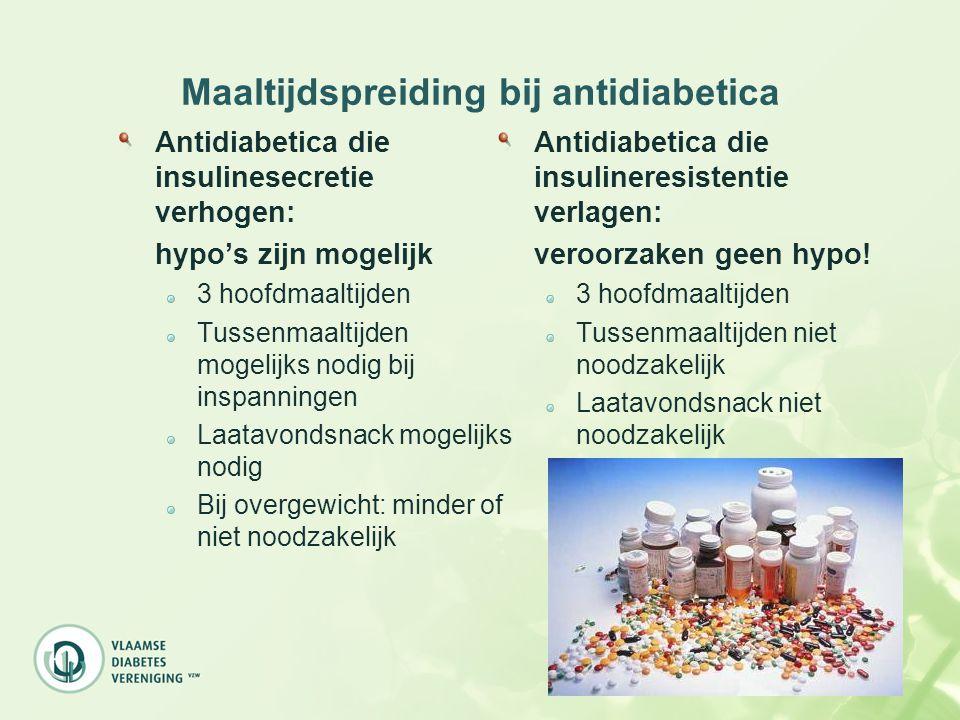 Maaltijdspreiding bij antidiabetica Antidiabetica die insulinesecretie verhogen: hypo's zijn mogelijk 3 hoofdmaaltijden Tussenmaaltijden mogelijks nod