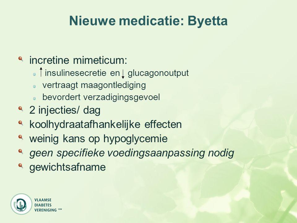 Nieuwe medicatie: Byetta incretine mimeticum: insulinesecretie en glucagonoutput vertraagt maagontlediging bevordert verzadigingsgevoel 2 injecties/ d