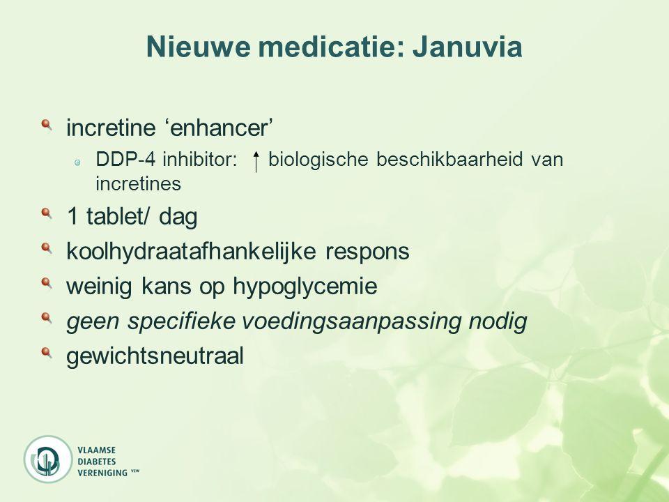 Nieuwe medicatie: Januvia incretine 'enhancer' DDP-4 inhibitor: biologische beschikbaarheid van incretines 1 tablet/ dag koolhydraatafhankelijke respo
