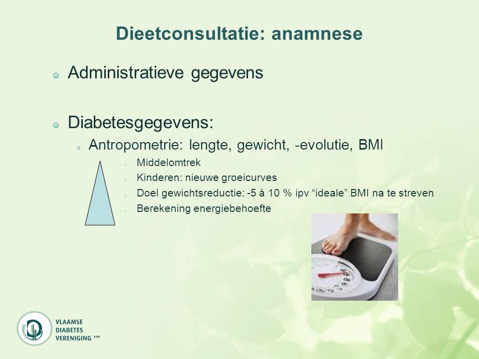 Dieetconsultatie: anamnese Diabetesgegevens: Medische geschiedenis: evolutie behandeling diabetes, diabetesregeling, medicatie voor diabetes (anti- diabetica en/of insuline), andere relevante medicatie (hypertensie, hypercholesterolemie, anti-obesitas, …) Labogegevens: biochemie, glucose, HbA1c, totale cholesterol, HDL-ch, LDL-ch, triglyceriden, nierfunctie METABOOL SYNDROOM