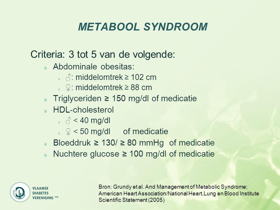 METABOOL SYNDROOM Criteria: 3 tot 5 van de volgende: Abdominale obesitas: ♂: middelomtrek ≥ 102 cm ♀: middelomtrek ≥ 88 cm Triglyceriden ≥ 150 mg/dl o