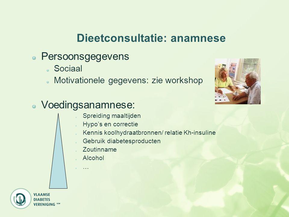 Dieetconsultatie: anamnese Persoonsgegevens Sociaal Motivationele gegevens: zie workshop Voedingsanamnese: Spreiding maaltijden Hypo's en correctie Ke