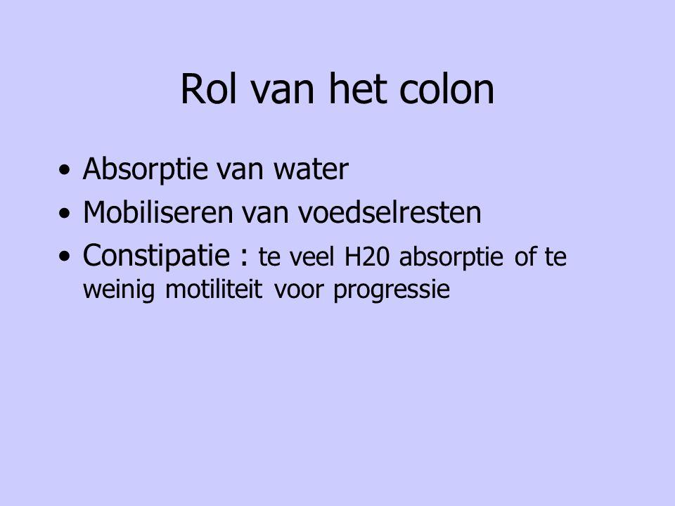 Rol van het colon Absorptie van water Mobiliseren van voedselresten Constipatie : te veel H20 absorptie of te weinig motiliteit voor progressie