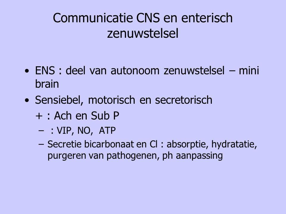 Communicatie CNS en enterisch zenuwstelsel ENS : deel van autonoom zenuwstelsel – mini brain Sensiebel, motorisch en secretorisch + : Ach en Sub P – :