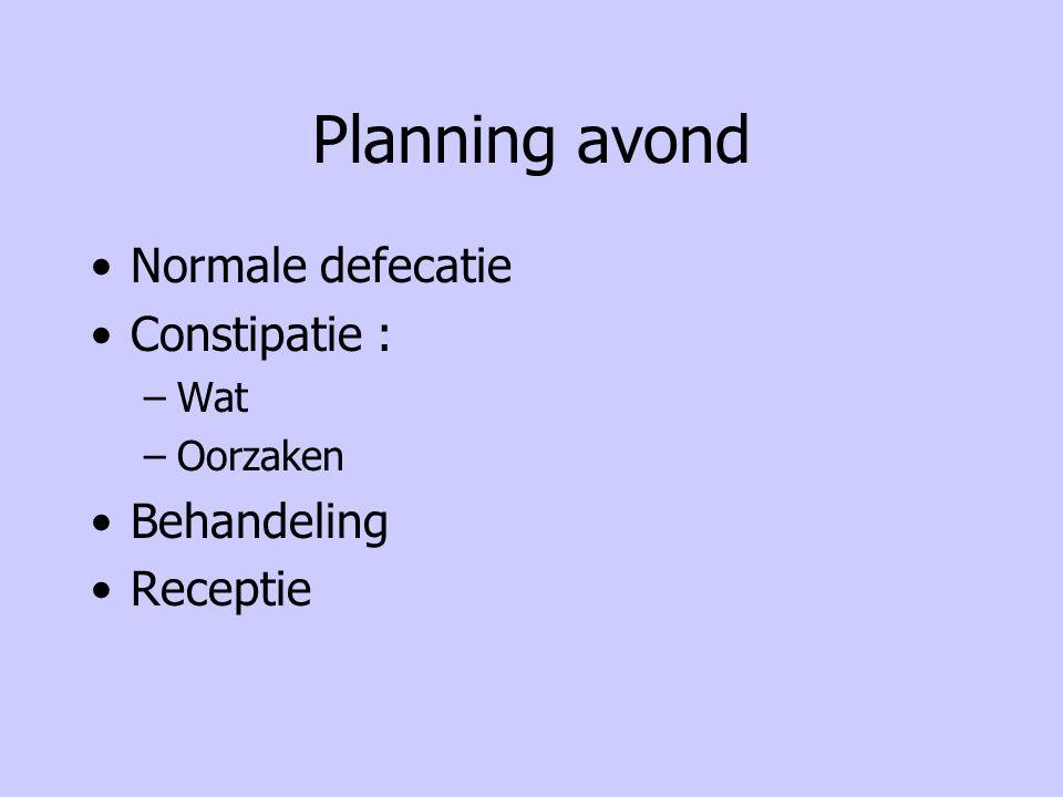 Planning avond Normale defecatie Constipatie : –Wat –Oorzaken Behandeling Receptie