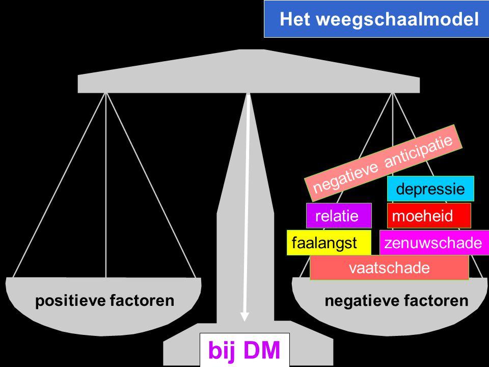 Het weegschaalmodel positieve factoren bij DM relatie zenuwschade moeheid depressie negatieve anticipatie faalangst vaatschade negatieve factoren