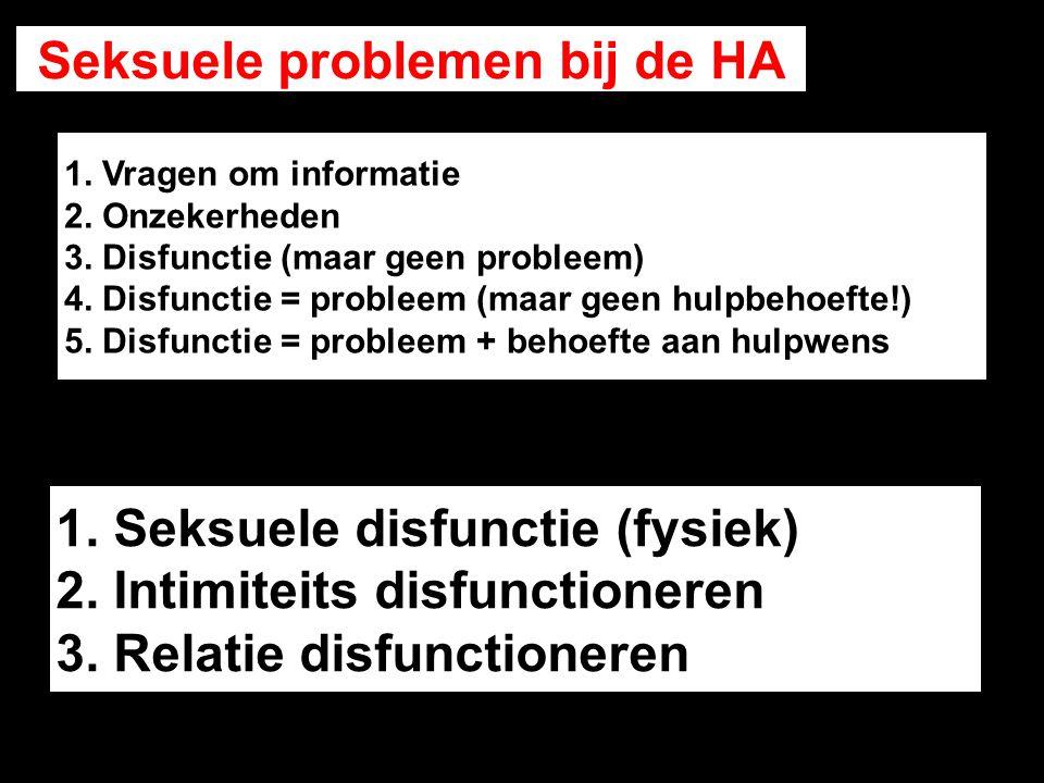 1. Seksuele disfunctie (fysiek) 2. Intimiteits disfunctioneren 3. Relatie disfunctioneren Seksuele problemen bij de HA 1. Vragen om informatie 2. Onze