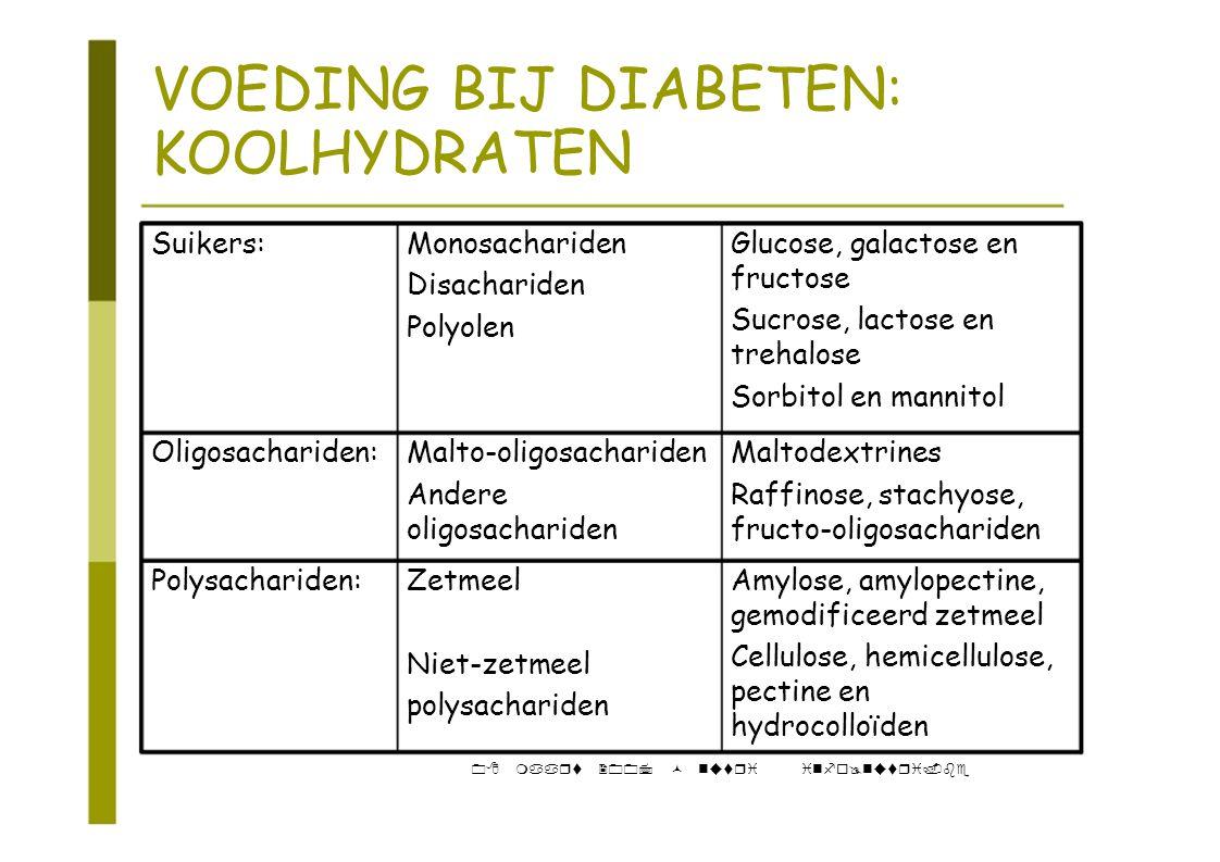 VOEDING BIJ DIABETEN: KOOLHYDRATEN Suikers:MonosacharidenGlucose, galactose en fructose Disachariden Sucrose, lactose en Polyolen trehalose Sorbitol e