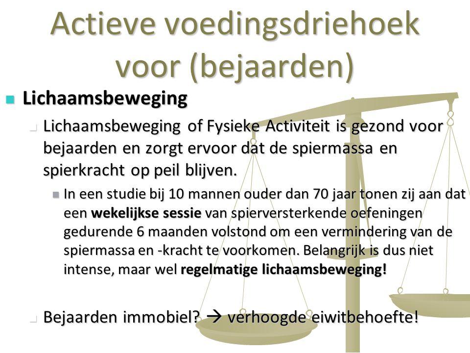 14 Actieve voedingsdriehoek voor (bejaarden) Lichaamsbeweging Lichaamsbeweging Lichaamsbeweging of Fysieke Activiteit is gezond voor bejaarden en zorg