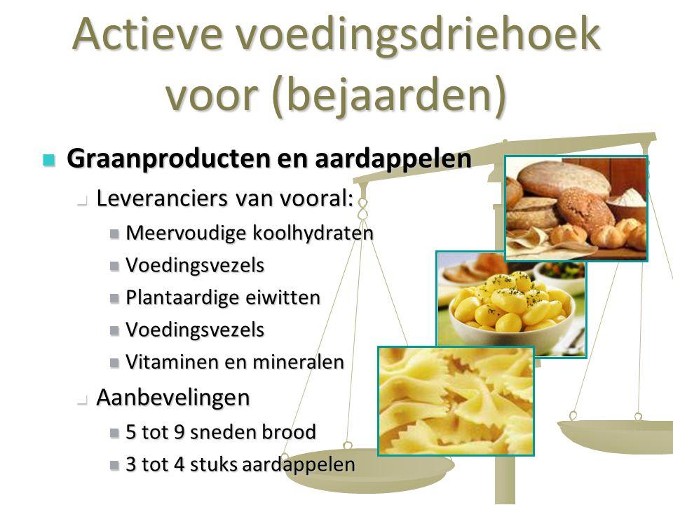 17 Actieve voedingsdriehoek voor (bejaarden) Graanproducten en aardappelen Graanproducten en aardappelen Leveranciers van vooral: Leveranciers van voo