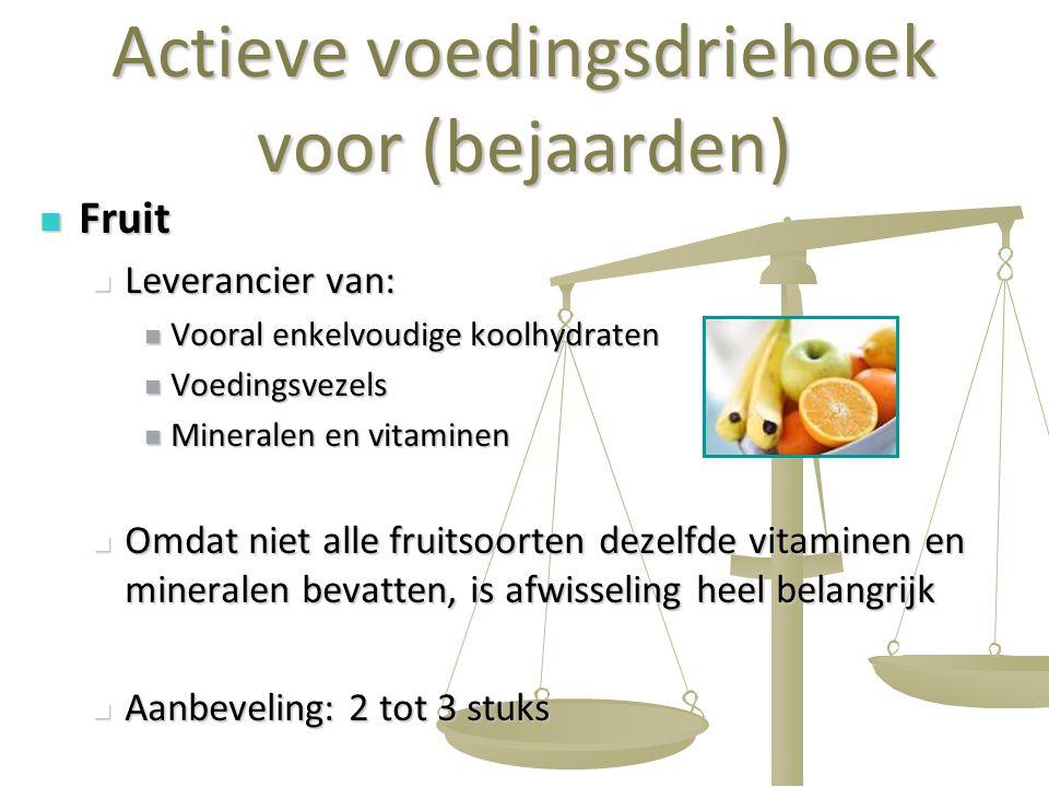 19 Actieve voedingsdriehoek voor (bejaarden) Fruit Fruit Leverancier van: Leverancier van: Vooral enkelvoudige koolhydraten Vooral enkelvoudige koolhy