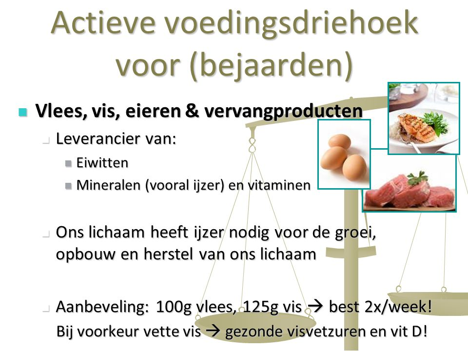 21 Actieve voedingsdriehoek voor (bejaarden) Vlees, vis, eieren & vervangproducten Vlees, vis, eieren & vervangproducten Leverancier van: Leverancier