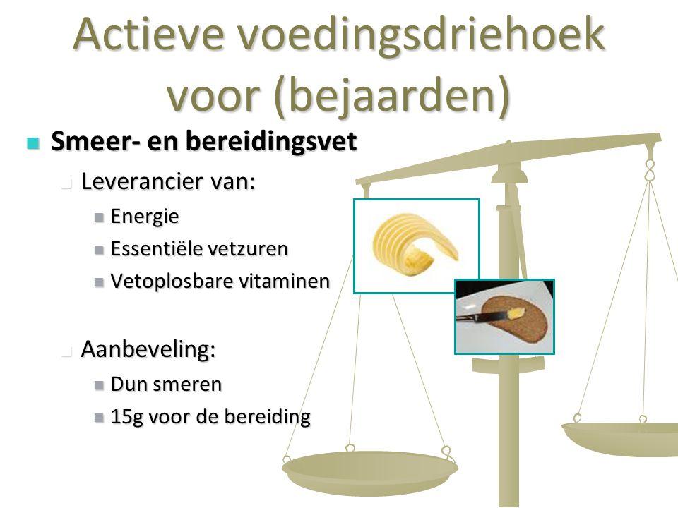 22 Actieve voedingsdriehoek voor (bejaarden) Smeer- en bereidingsvet Smeer- en bereidingsvet Leverancier van: Leverancier van: Energie Energie Essenti