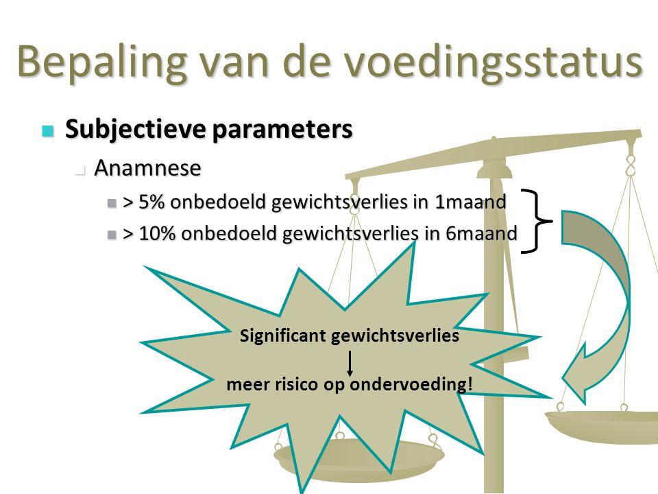 31 Bepaling van de voedingsstatus Subjectieve parameters Subjectieve parameters Anamnese Anamnese > 5% onbedoeld gewichtsverlies in 1maand > 5% onbedo