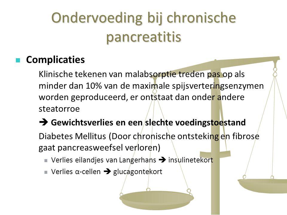 43 Ondervoeding bij chronische pancreatitis Complicaties Klinische tekenen van malabsorptie treden pas op als minder dan 10% van de maximale spijsvert
